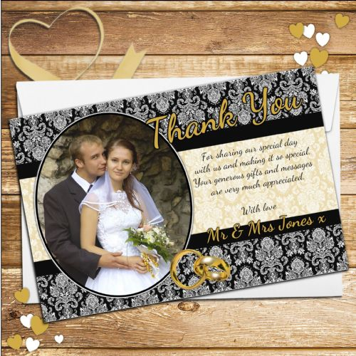 10 Personalised Black & Gold Floral Wedding Day Thank you Photo Cards N228